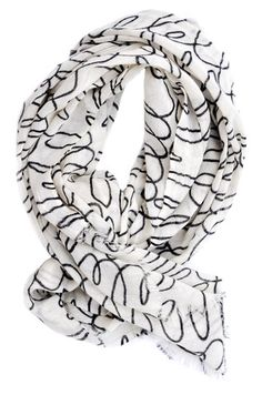 Notes Print Wool Scarf