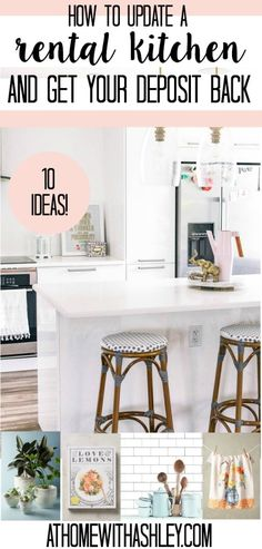 how to update a rental kitchen and get your deposit back. Ideas on how to DIY counter tops, cabinet doors, backsplash, floors, and fridge. Hacks to makeover ugly apartment kitchen decor and upgrade it Kitchen Decor, Apartment Kitchen, Kitchen Flooring, Kitchen Decor Apartment, Diy Home Decor, Rental Kitchen, Kitchen Cabinets Makeover, Diy Countertops, Diy Apartments