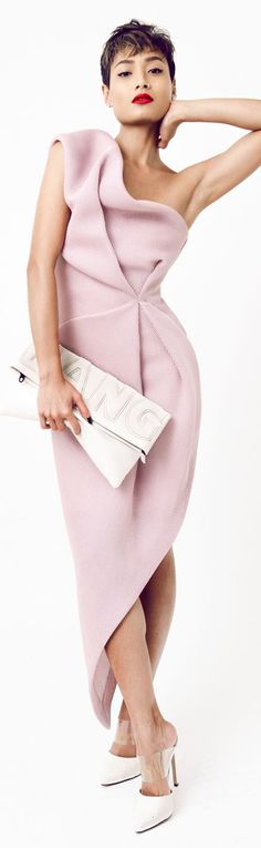 Bei Na Wei Pink Asymmetric Drape Sculptural Maxi Cocktail Dress by Micah Gianneli