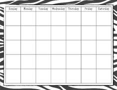 Zebra Print Calendar Blank