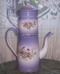 Antique French enamelled coffee cafetiere