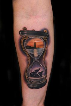 Lighthouse-and-Sinking-Ship-Hourglass-tattoo-by-Andres-Acosta.jpg (305×458)