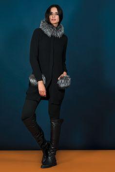 Negri Firenze cashmere cardigan with fox fur