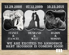 Chalkboard Pregnancy Announcement for New Baby / Facebook Pregnancy Announcement / Printable / Important Dates Announcement by MulliganDesign on Etsy