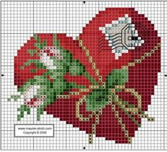 Cross-stitch  Heart ... no color chart available, just use the pattern chart as your color guide.. or choose your own colors