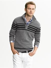 Striped Merino Wool Button-Mock Pullover