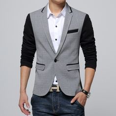 Would you buy this 2017 New Slim Fit...? Available now at DIGDU http://www.digdu.com/products/2017-new-slim-fit-mens-casual-jacket-single-button-cotton-blazer-jacket-men-classic-gray-mens-suit-jacket-patchwork-coat-men-6xl?utm_campaign=social_autopilot&utm_source=pin&utm_medium=pin
