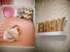 GreyLikesBaby-Gold Glitter BABY sign & Chevron pillow & pink pouf a must!
