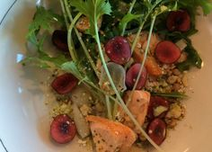 Cherry and Roasted Salmon Salad & Cherry and Chevre Bruschetta with Basil Pesto recipes from Chef Jason Wilson of Crush