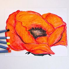 Recreate Five Masterpiece Paintings: Red Poppy by Georgia O'Keeffe (via Parents.com)-Noah did this is school last year in art for Mother's Day.  He did a pink flower for me because it's my favorite color!