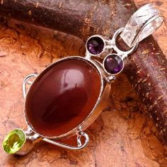 CLEARANCE Awesome Sterling Silver Plated Amethyst And Peridot Gemstone Pendant #0102