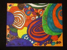 Abstract Drawing: Hundertwasser Inspired, 2nd grade. Art teacher Jennifer Lipsey Edwards.