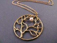 Tree Necklace Gold Pendant with Freshwater Pearl by IrinSkye