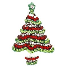 Red, Clear  and  Peridot Green Crystal Christmas Tree Brooch  Silver