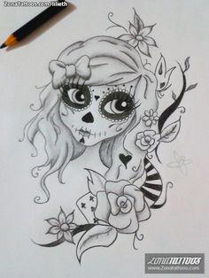 Diseño de catrina hecho por Patricia Pereira, de São Paulo (Brasil). Si quieres ponerte en contacto con ella para un diseño visita su perfil: http://www.zonatattoos.com/lilieth  #tattoos #tatuajes