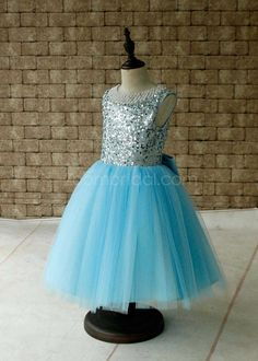 Light Blue Tutu Sequined Flower Girls Dress Keyhole Back with Bow