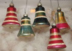 Christmas Tree Ornament Vintage Glass four bells.