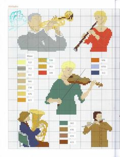 Musicians and their instruments Cross Stitch Music, Cross Stitch Cards, Cross Stitch Baby, Cross Stitching, Dmc Embroidery Floss, Cross Stitch Embroidery, Cross Stitch Patterns, Music Logo, Music Notes