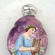 """Antique Porcelain Lustre """"Maiden with Lyre"""" Perfume Scent Bottle Silver Lid Birmingh"""