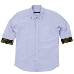 SOPHNET. Camouflage Detail Oxford Shirt (Blue) ($200-500) - Svpply