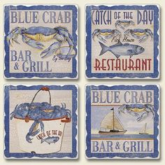 """Maryland Blue Crab Bar & Grill Absorbent Coaster Set by Highland Graphics. $10.99. Set is assorted with 4 different images designs. Cleans easily with a mild liquid detergent. Made in the USA. backed with cork to protect your furniture. tumbled stone coaster approx 4"""" x 4"""" x .5"""" thick. Maryland Blue Crab Bar & Grill Absorbent Coaster Set. Save 39% Off!"""