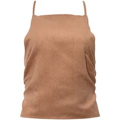 Truffles Crop Top In Suede Feel Tan By Motel ($13) ❤ liked on Polyvore featuring tops, motel, tan top, suede top, beige crop top, spaghetti-strap tops and strappy crop top
