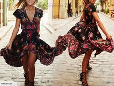 SFDS1031    Boho Style Dress V-neck Floral Printed Dress    Measurements(in cm):    Size: 16    Bust about 105 cm    Material: Polyester    1-2 cm difference is...