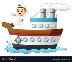 Illustration of Cartoon ship captain pointing on a ship vector art, clipart and stock vectors. Scenery Drawing For Kids, Ship Vector, Medical Wallpaper, Cartoon Ships, Image Fun, Nautical Party, Illustration, Daily Drawing, Preschool Activities