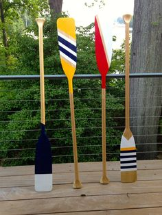 Hand-Painted Wooden Paddle Yellow Navy and White by Painted Oars, Hand Painted, Painted Stripes, Painted Driftwood, Oar Decor, Coastal Decor, Seaside Decor, Nautical Wedding Theme, Nautical Style