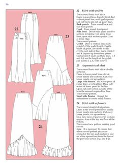 #ClippedOnIssuu from Metric pattern cutting for womens wear. Godets Easy Sewing Patterns, Clothing Patterns, Flamenco Skirt Pattern, Pattern Cutting, Pattern Making, Sewing Lessons, Fashion Sewing, Women's Fashion, Rock