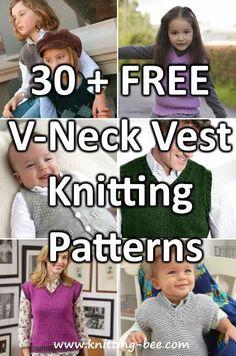 30 Free V Neck Vest Knitting Patterns Free Knitting Patterns For Women, Aran Knitting Patterns, Knit Vest Pattern, Baby Cardigan Knitting Pattern, Baby Knitting, Knit Patterns, Baby Knits, Knit Wear, Latex Fashion