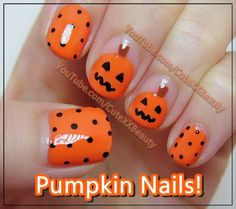 Pumpkin Nail Art (Short Nails) { Halloween } - Welcome to...