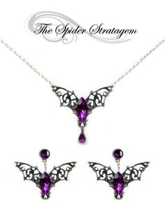 Gothic bat winged earrings + necklace + ring 'Purple/Red Bats' halloween goth vampire horror victorian