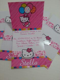 Convite Personalizado tema Hello Kitty.    Personalizamos em qualquer tema.