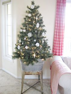 Don't feel pressured to shove a too-big tree into your small living room. Instead, choose a smaller tree, and raise it up on a platform. That way, you get the perceived size and commanding presence of a larger tree without taking up so much floor space. For inspiration, look at Happy At Home's small tree: Raised off the ground, it's much less intrusive without sacrificing the holiday spirit.    - ELLEDecor.com