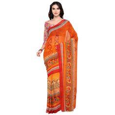 Orange Colored Printed Faux Georgette Casual Wear Saree Triveni