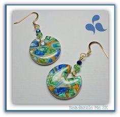 Blue SapphireTeal & Gold  Dangle Earrings polymer clay Jewelry