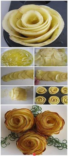 Aardappels maar dan net even anders - Alle plakjes aardappels over elkaar leggen, wat boter er op, rol maken, in de vorm doen en dan een beetje in vorm duwen als een roos. Oven 180 graden - 20 tot 30 min bakken, wel in de gaten houden, want het randje kunnen snel donken worden.