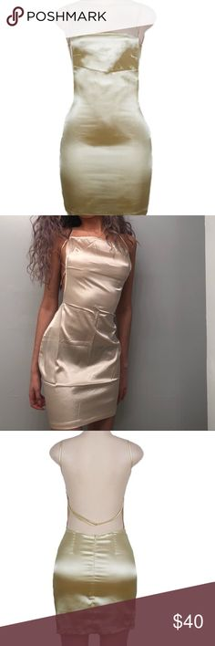 ✨ gorgeous sexy lil champagne small dress ✨ rare shiny beige gold mini dress square neckline, thin, adjustable spaghetti strap on the back strap & sides straps are also adjustable (to fuller breasts) super cute flattering open back. very delicate sheer might need nude lingerie kendall wore something similar to this tucked into mom / high waisted boyfriend jeans as a top (like areyouami silk dresses) shiny satin polyester backless clubbing exotic dance dancewear #streetwear baby girl fashion…