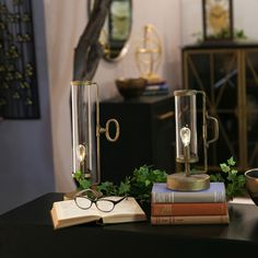 New Year, New Decor! Set of two antique gold finish LED lights with glass cylinders AA battery not included) Item