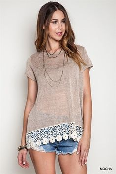 Scoop neck crochet trim solid mocha knit top with short sleeve. Cotton/Poly. Made in USA.