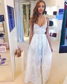 White lace maxi dress. #summer Jourdan Dunn