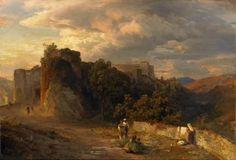 Italienische Landschaft im Abendlicht von Oswald Achenbach