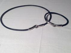 I miei migliori pezzi in vendita - Parure Girocollo e bracciale in metallo bianco e corda rivestita pelle