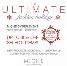 Cyber weekend 2014 is quickly coming to an end.  Order before10:59 pm to take advantage of these great deals.  Add your order to November party and you will be entered in a raffle to win a prize. Order @ https://sandrasgotmy.miche.com