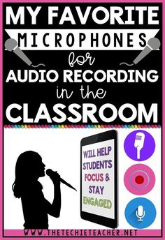 My favorite microphones for audio recording in the classroom. These microphones will work on iPads tablets smartphones Chromebooks laptops and desktops. Students will love these fun microphones to use with their digital projects! Educational Websites, Educational Technology, Educational Activities, Computer Lab Lessons, Teacher Blogs, Teacher Librarian, Teacher Hacks, Technology Integration, Technology Lessons