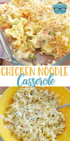 This Easy Chicken Noodle Casserole is made with egg noodles, chicken breast, a creamy, tasty filling and topped with buttered bread crumbs! Family approved! #chickencasserole #maindish