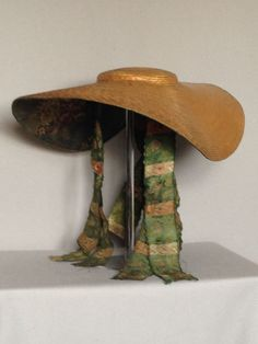 Rare Bergere Straw Hat with silk lined under-brim (I have reproduction without lining. I put hat elastic to keep under my hair and pinned up back with big bow. Will add trim or maybe pin big flowers next.