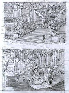Rococo architecture study by Dunhuang Chen on ArtStation. Scenery Background, Background Drawing, Animation Background, Environment Sketch, Environment Design, Architecture Concept Drawings, Architecture Art, Dunhuang, Bg Design