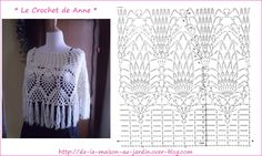 White poncho adorned with fringes and patterns pineapple!